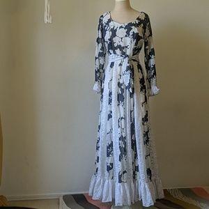 Vintage 70s gunne sax style  maxi prairie dress